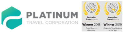 Platinum Travel Logo showing awards